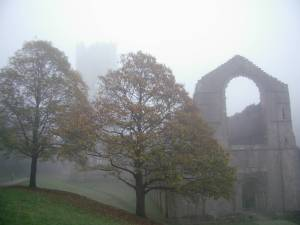 Fountains Abbey in the fog!