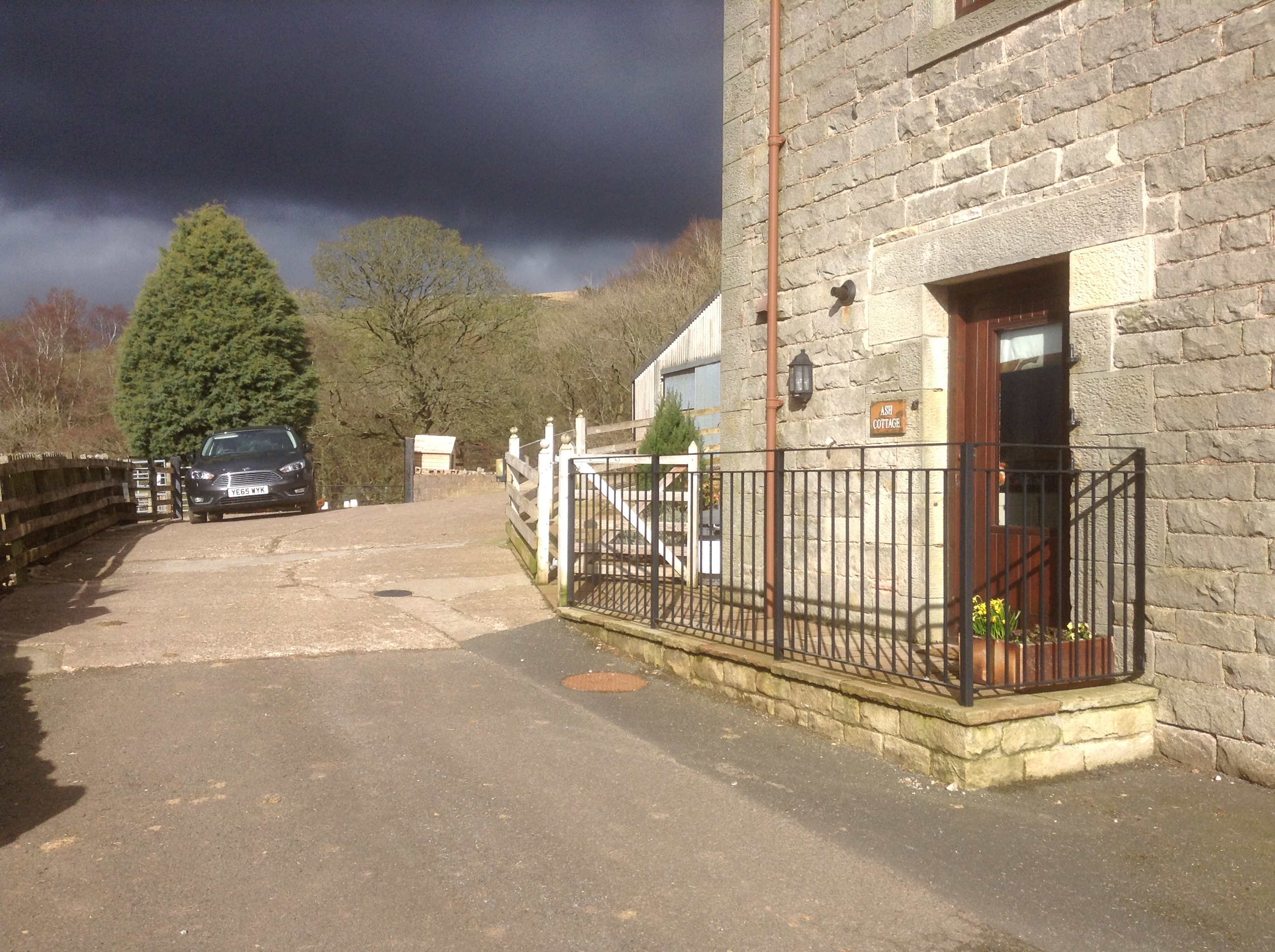 Parking space and entrance to Ash Cottage